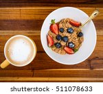 healthy breakfast on wooden... | Shutterstock . vector #511078633
