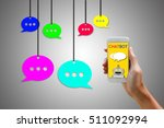 chatbot concept. man holding... | Shutterstock . vector #511092994