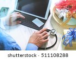 medical doctor hand with credit ... | Shutterstock . vector #511108288