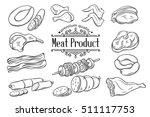 set hand drawn monochrome icon...   Shutterstock .eps vector #511117753