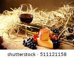 Glass Of Wine  Grape And Chesse