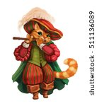 Stock photo cartoon cat in a hat boots and coat playing the flute 511136089