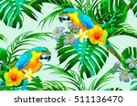 parrots  exotic birds  tropical ... | Shutterstock .eps vector #511136470