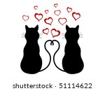 silhouettes of two cats in love | Shutterstock . vector #51114622