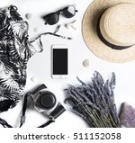 Stylized Feminine Flatlay With...