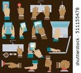 hands set with gadgets. vector... | Shutterstock .eps vector #511155478