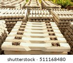 Sleepers Stock In Railway Depo...