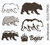 set of walking bear silhouettes ... | Shutterstock .eps vector #511175920