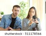 jealous boyfriend spying his... | Shutterstock . vector #511178566