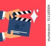 flat movie clapperboard symbol. ... | Shutterstock .eps vector #511185004