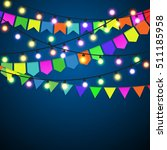 color pennant bunting and... | Shutterstock . vector #511185958