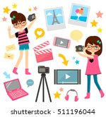 young girls and items related... | Shutterstock .eps vector #511196044