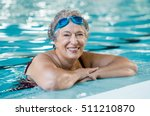mature woman wearing swim... | Shutterstock . vector #511210870