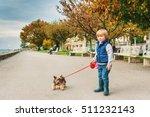 Stock photo little boy walking with small yorkshire terrier wearing blue waistcoat 511232143