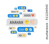 messages with cute emoji and... | Shutterstock .eps vector #511234543