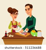 couple man and woman characters ... | Shutterstock .eps vector #511236688