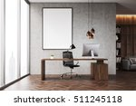 Ceo Office With Bookcase  Sofa...