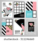 memphis cards with geometric... | Shutterstock .eps vector #511246660