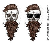 skull with beard and mustache. | Shutterstock .eps vector #511250944