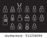 padlocks white line icons  | Shutterstock .eps vector #511256044