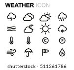 vector line weather icons set... | Shutterstock .eps vector #511261786