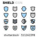 vector flat line shield icons... | Shutterstock .eps vector #511262398