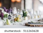 empty glasses set in restaurant.... | Shutterstock . vector #511263628