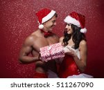 sexy couple sharing a christmas ... | Shutterstock . vector #511267090
