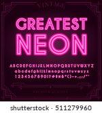 bright neon alphabet letters ... | Shutterstock .eps vector #511279960