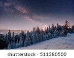 starry sky in winter snowy... | Shutterstock . vector #511280500