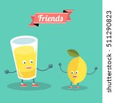 funny lemon with glass of... | Shutterstock .eps vector #511290823
