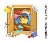mess in the closet with clothes.... | Shutterstock .eps vector #511296904
