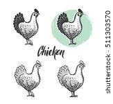 chicken logotypes set. hen meat ... | Shutterstock .eps vector #511303570