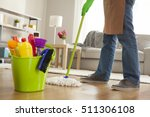 man holding mop and plastic... | Shutterstock . vector #511306108