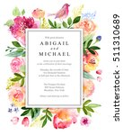 watercolor floral greeting card.... | Shutterstock . vector #511310689