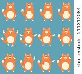 set of flat red cat icons | Shutterstock .eps vector #511312084