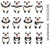 set of flat panda icons | Shutterstock .eps vector #511312153