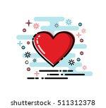 vector cartoon red heart icon.... | Shutterstock .eps vector #511312378
