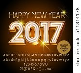vector gold neon happy new year ... | Shutterstock .eps vector #511314178