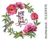 wildflower peony flower frame... | Shutterstock . vector #511329370