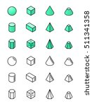 geometric shapes in isometry... | Shutterstock .eps vector #511341358