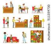 people talking and reading... | Shutterstock .eps vector #511359730