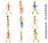 people doing nordic walk... | Shutterstock .eps vector #511359928