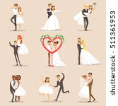 happy newlyweds on the wedding... | Shutterstock .eps vector #511361953