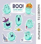 sticker set of cute cartoon... | Shutterstock .eps vector #511380094