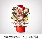 big red pot with vegetables and ... | Shutterstock . vector #511388893
