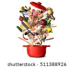 big red pot with vegetables and ... | Shutterstock . vector #511388926