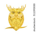 gold owl with deer horn