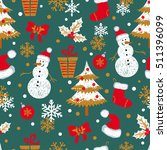 christmas and new year seamless ... | Shutterstock .eps vector #511396099