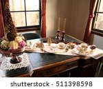 christmas party banquet table | Shutterstock . vector #511398598